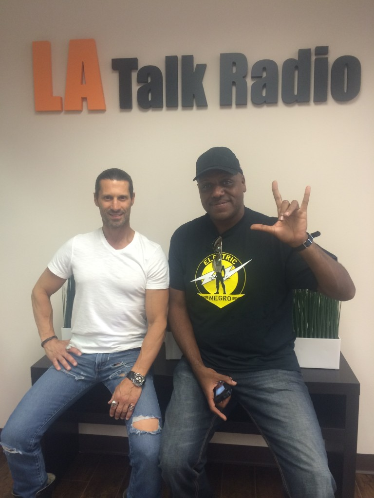 Tola Talks' Rich Tola with the Brand Ambassador for the 99 Cent Store, Papa Joe Aviance
